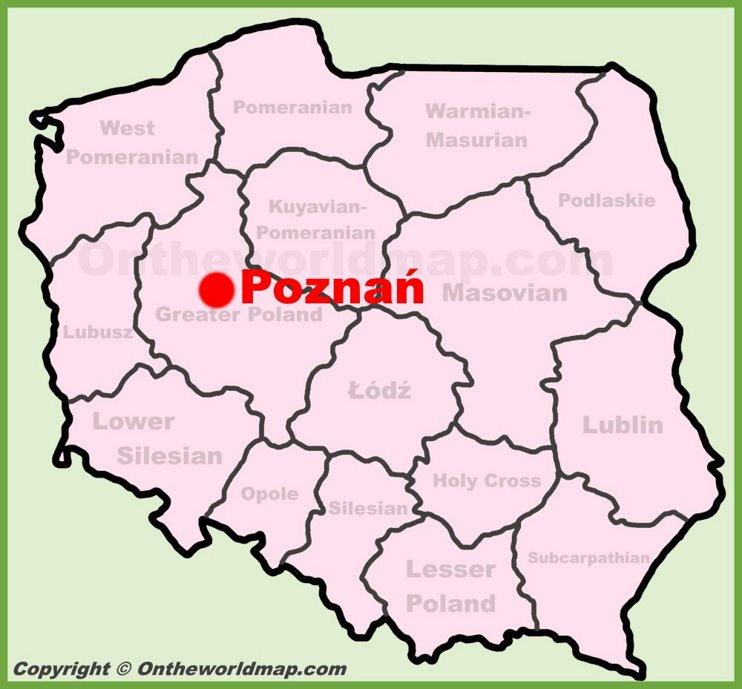 Poznań location on the Poland map