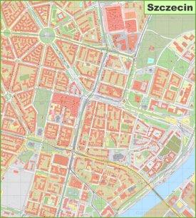 Szczecin city center map