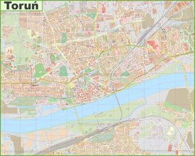 Large detailed map of Toruń
