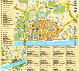 Toruń hotels and sightseeings map