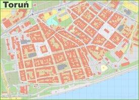 Toruń old town map