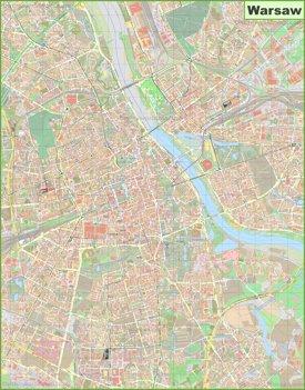 Large detailed map of Warsaw