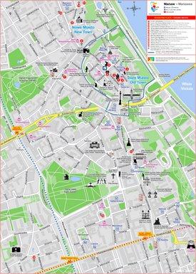Warsaw city center tourist map