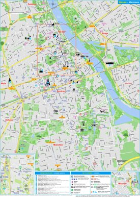 Warsaw hotels and sightseeings map