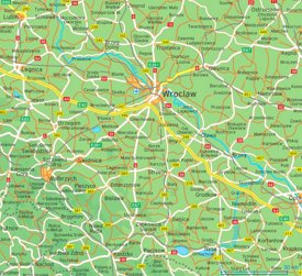 Wrocław area road map