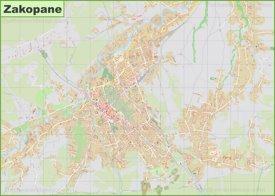 Large detailed map of Zakopane