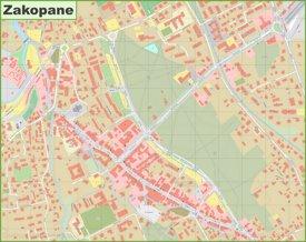 Zakopane city center map