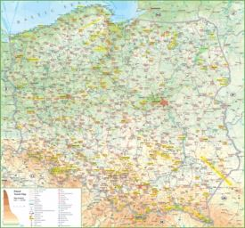 Large detailed tourist map of Poland