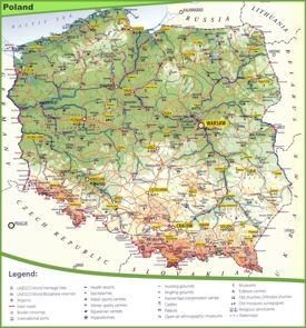 Tourist map of Poland
