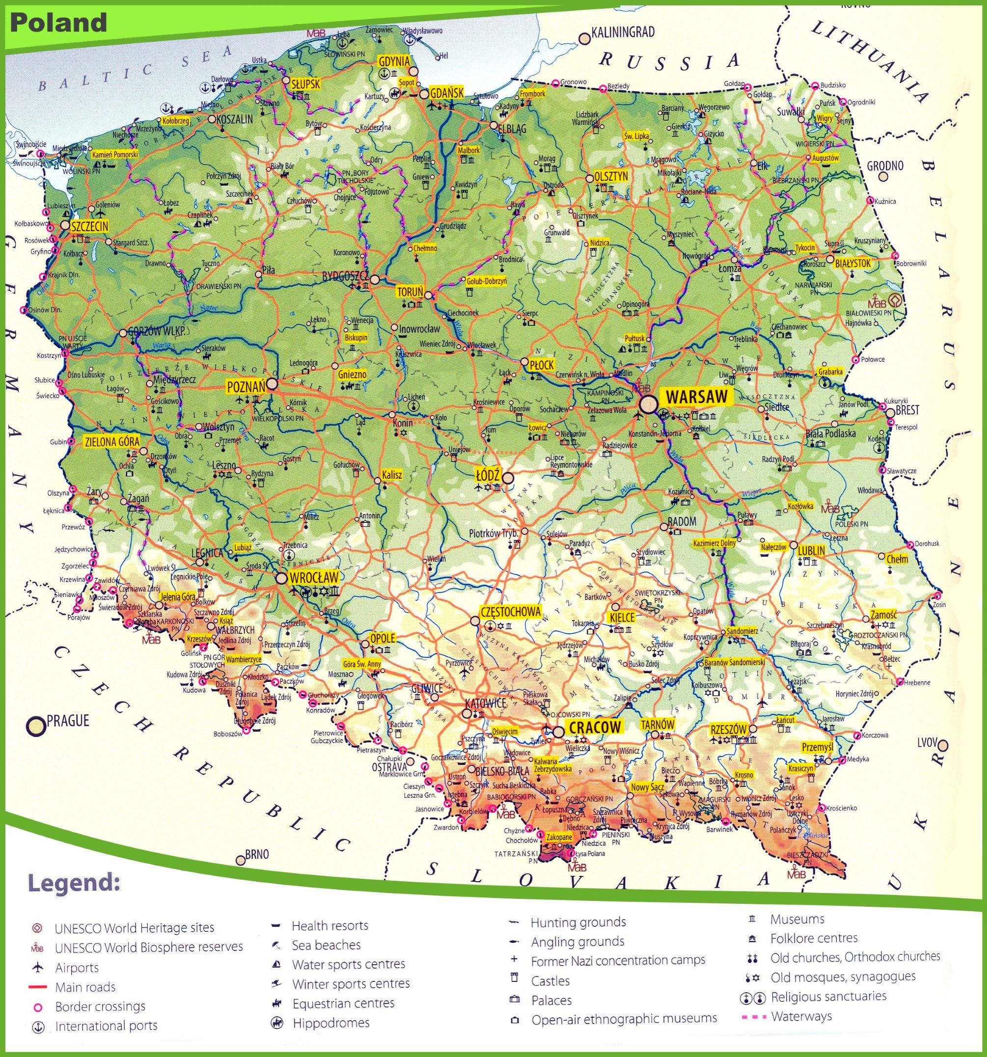 Tourist Map Of Poland - Poland map