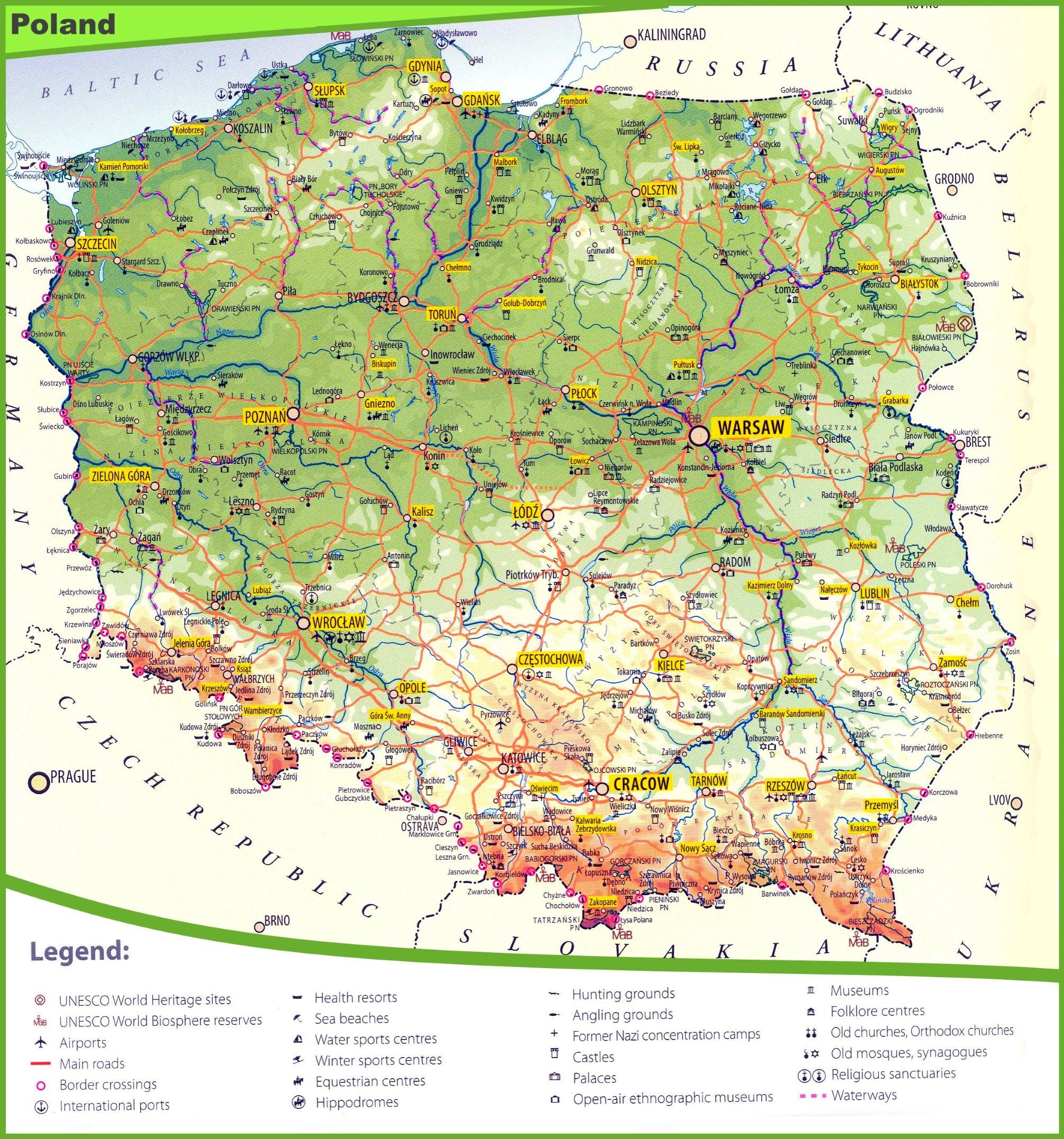Tourist map of Poland