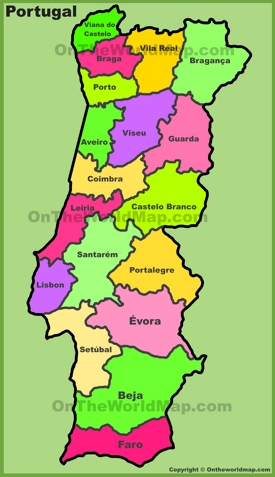 Administrative divisions map of Portugal