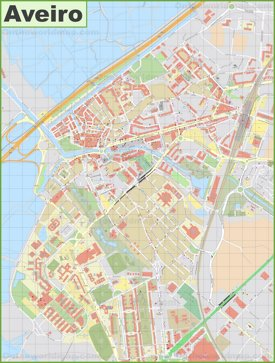 Detailed map of Aveiro
