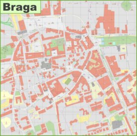 Braga city center map