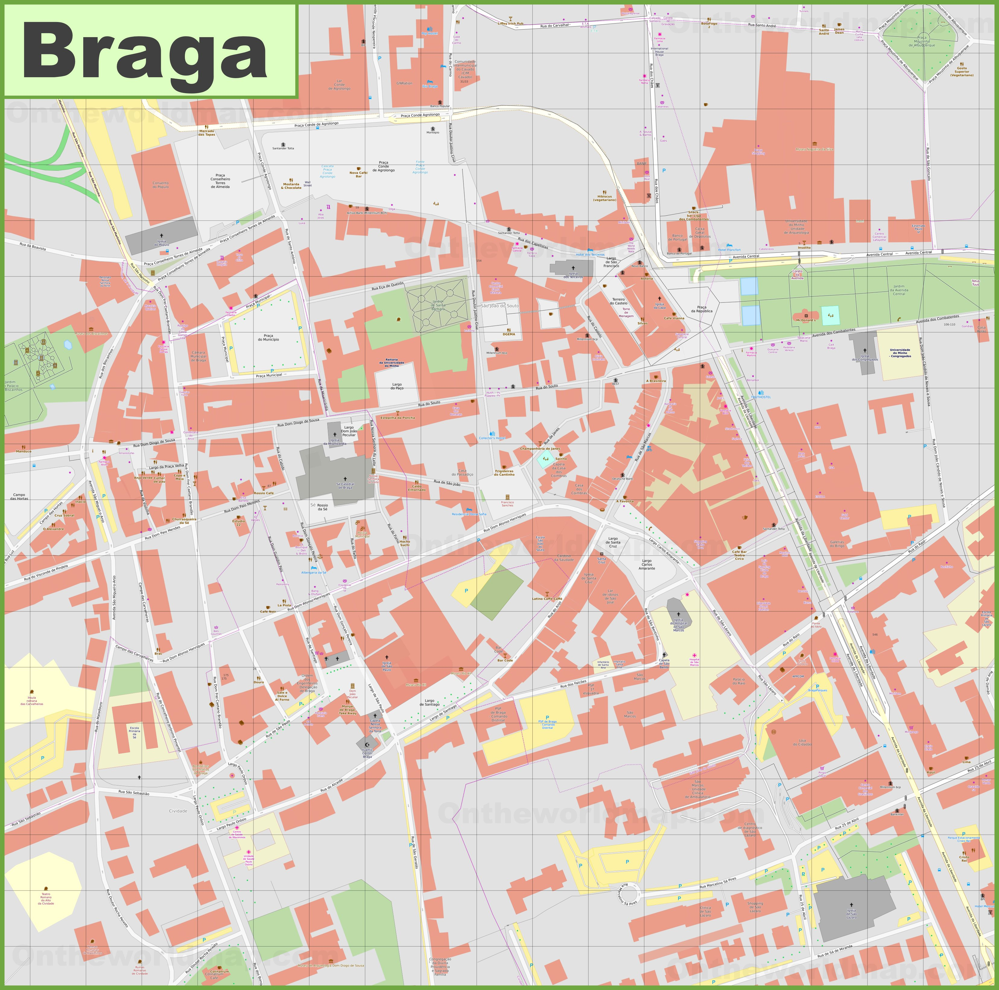 Braga city center map