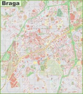 Detailed map of Braga
