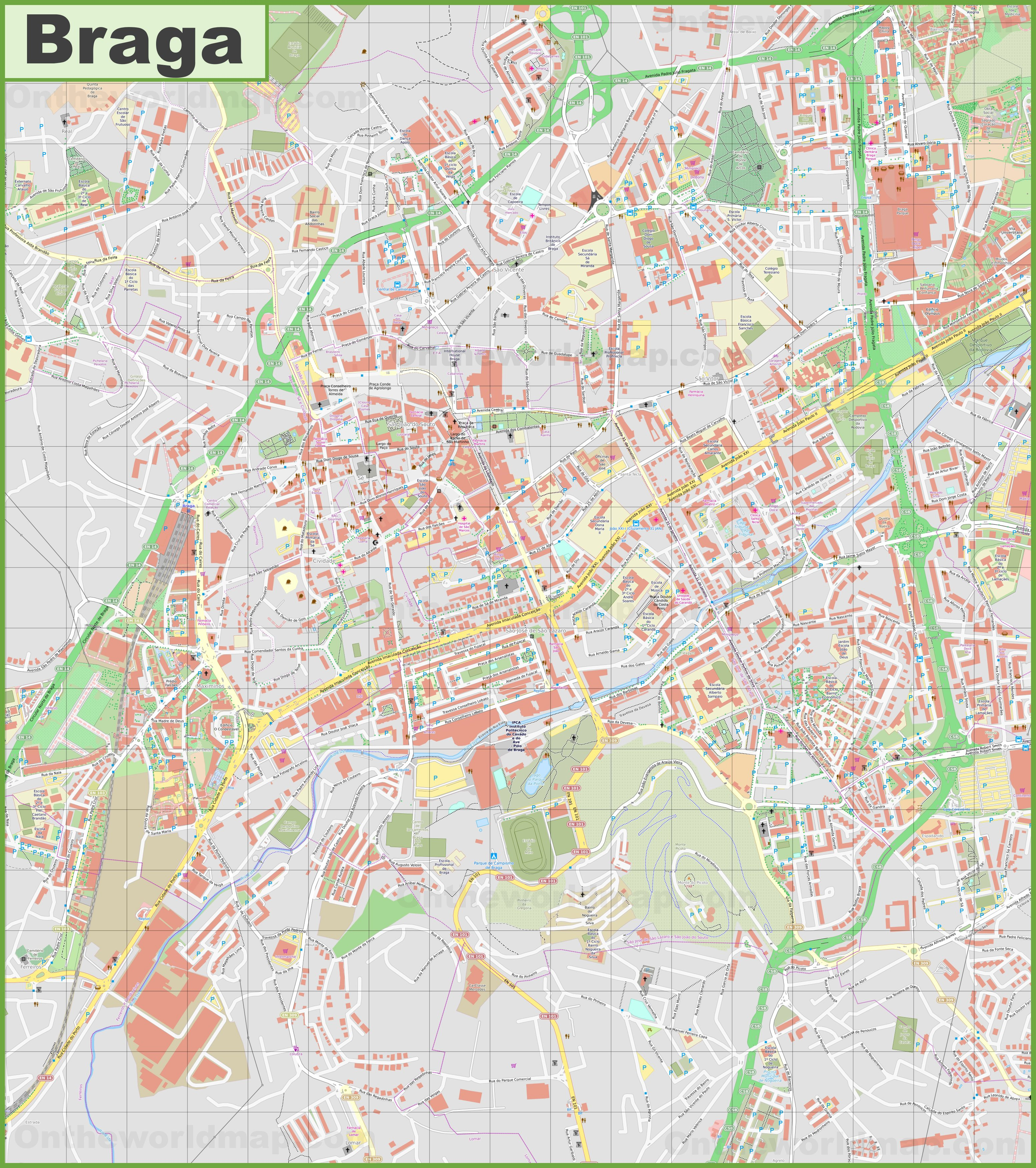 Detailed map of Braga