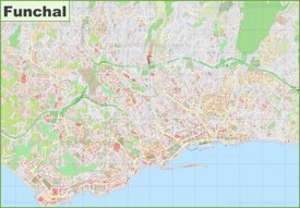 Detailed map of Funchal