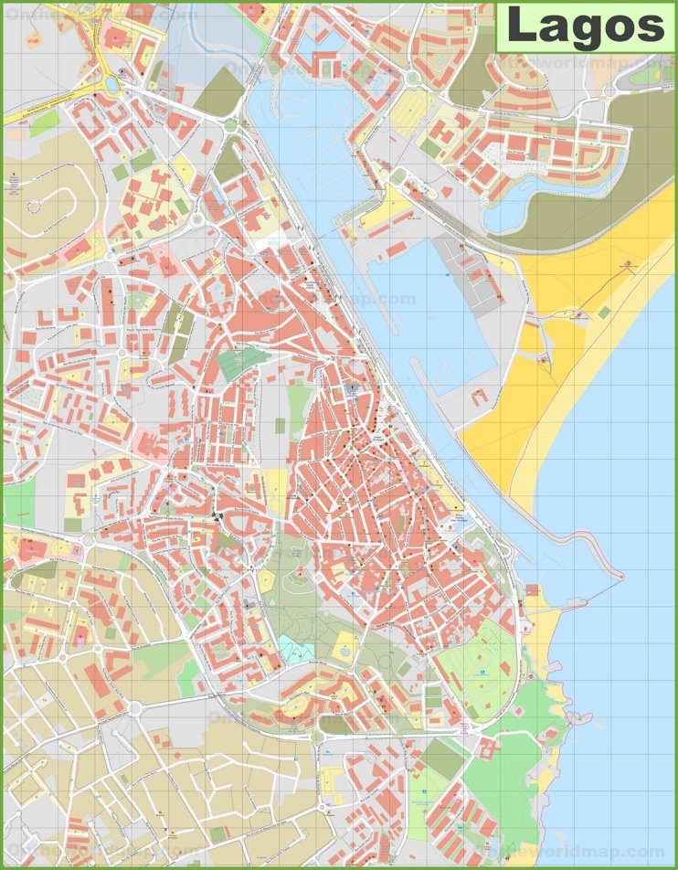 Detailed map of Lagos