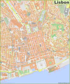 Large detailed map of Lisbon