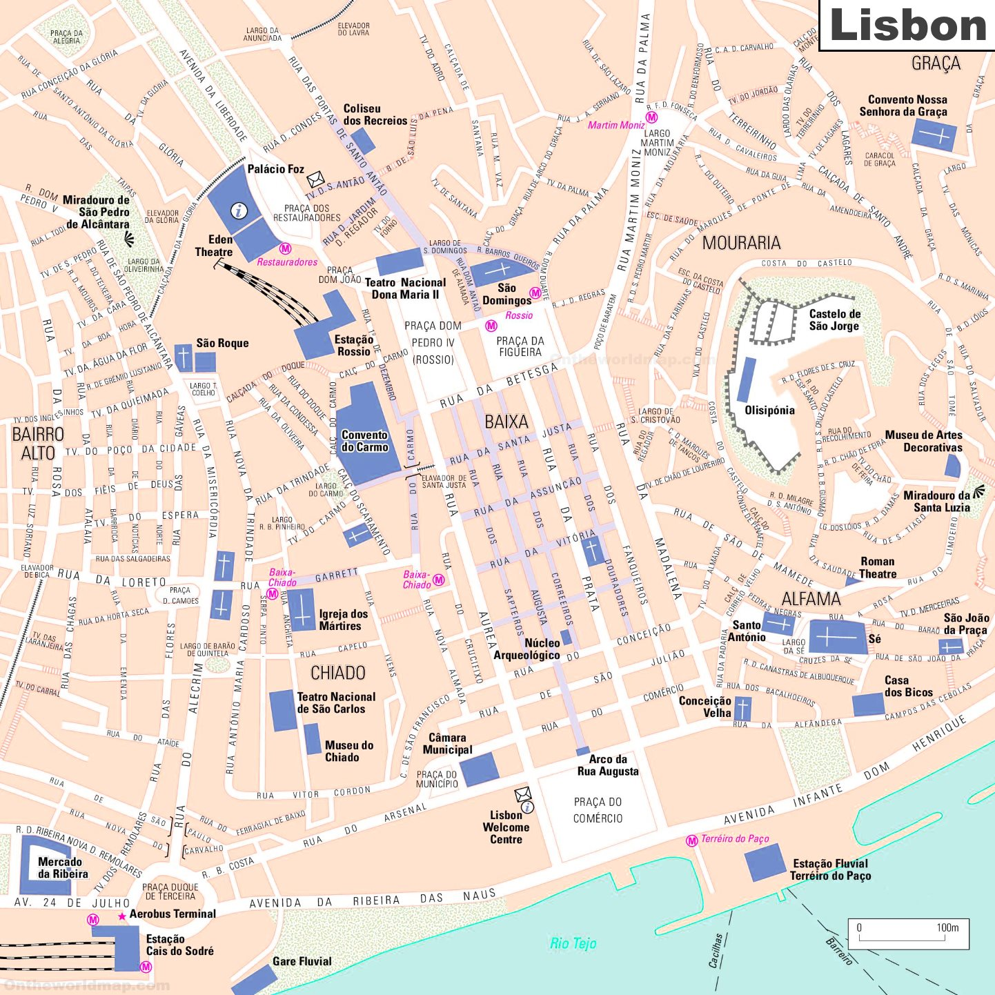 tourist map of lisbon city centre