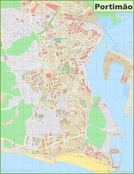 Detailed map of Portimão