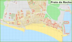Detailed map of Praia da Rocha