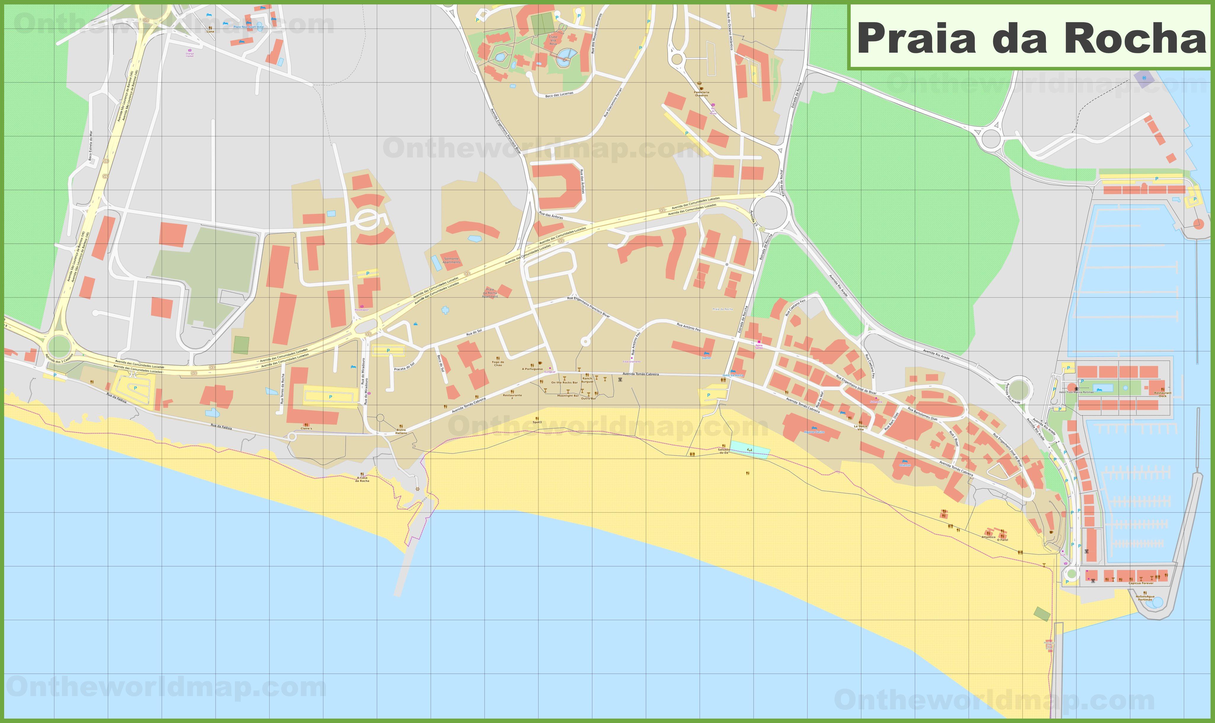 Praia Da Rocha Map Detailed map of Praia da Rocha