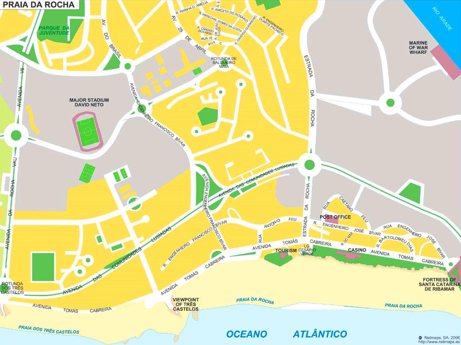 Praia Da Rocha Map Praia da Rocha tourist map