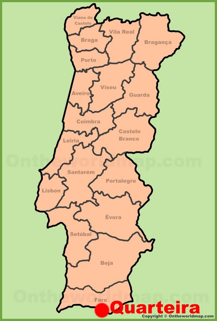 Quarteira location on the Portugal Map
