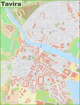 Detailed map of Tavira