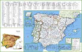 Large detailed map of Spain and Portugal with cities and towns
