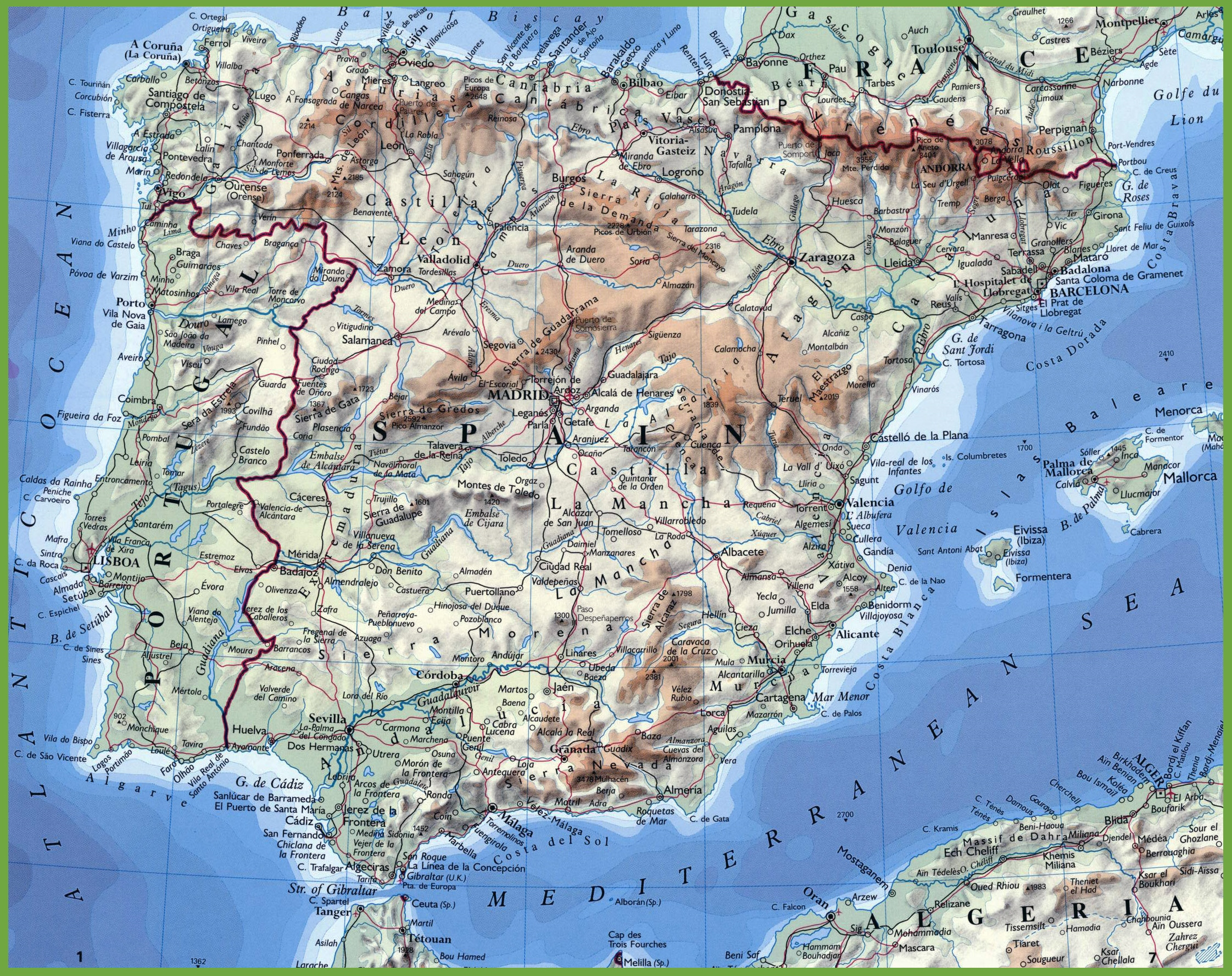 Map Of Portugal And Spain.Physical Map Of Portugal And Spain