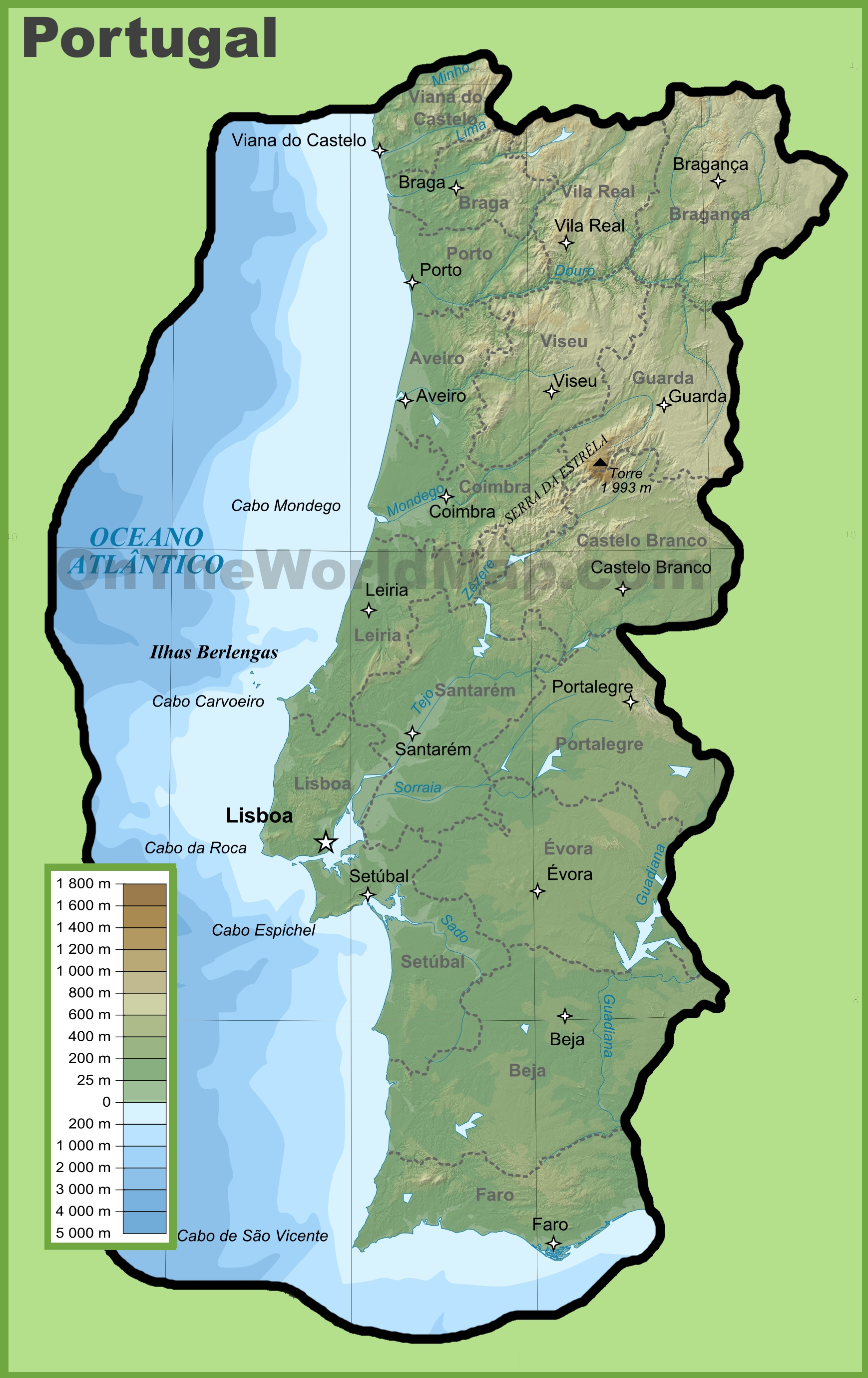Portugal Physical Map - Portugal on map