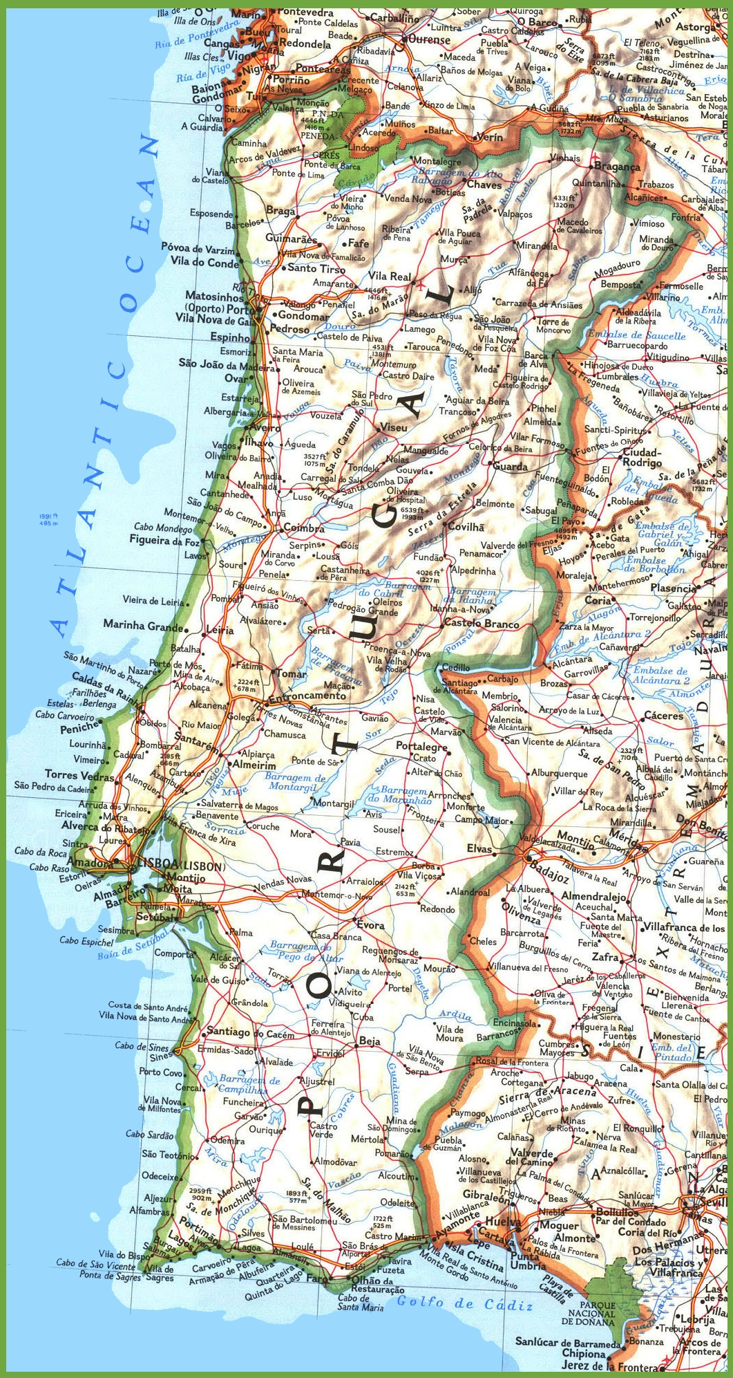 Portugal Road Map - Portugal map