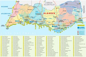 Algarve beach map