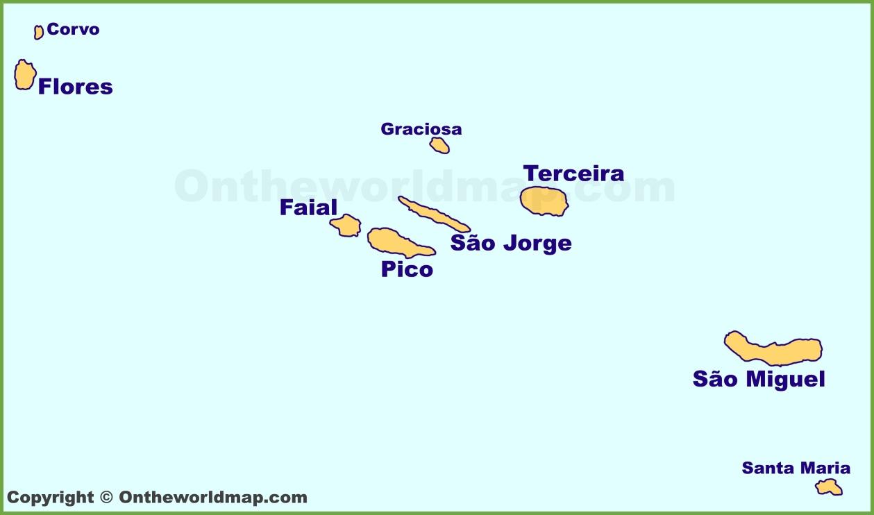 Azores Islands Map