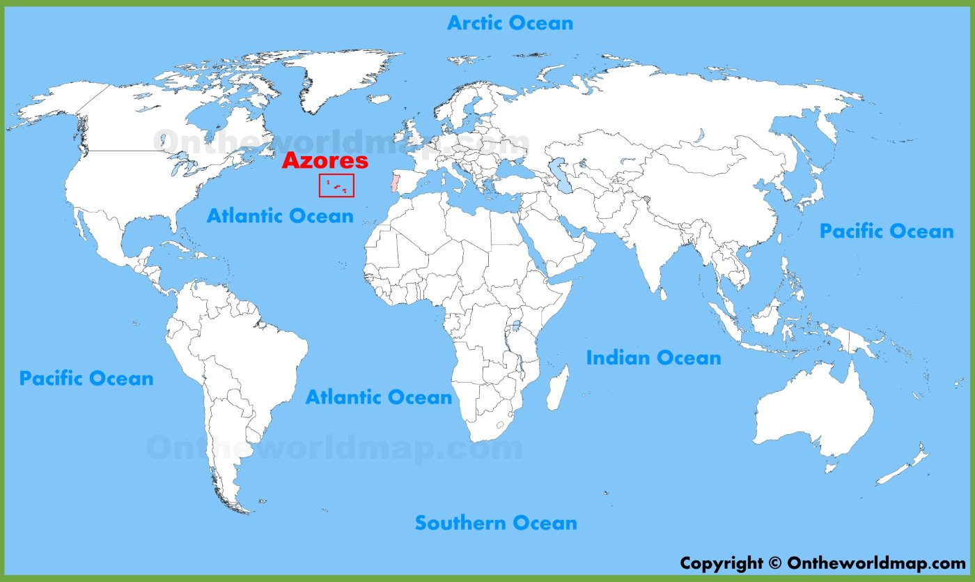 Map Of Azores Azores location on the World Map Map Of Azores