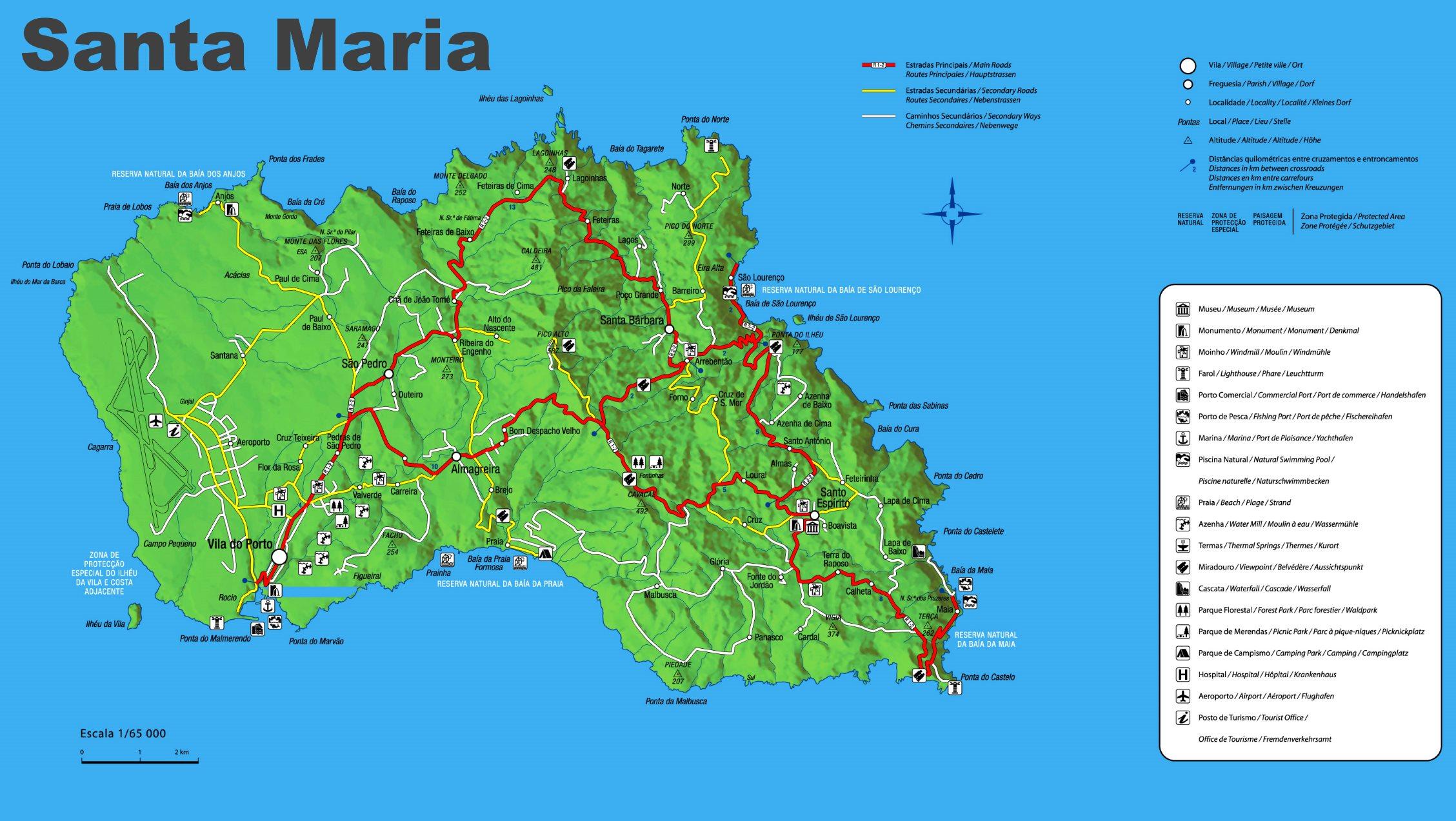 Santa Maria Map Santa Maria Island Map Santa Maria Map
