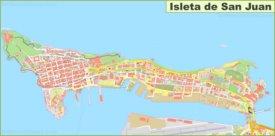 Detailed map of Isleta de San Juan
