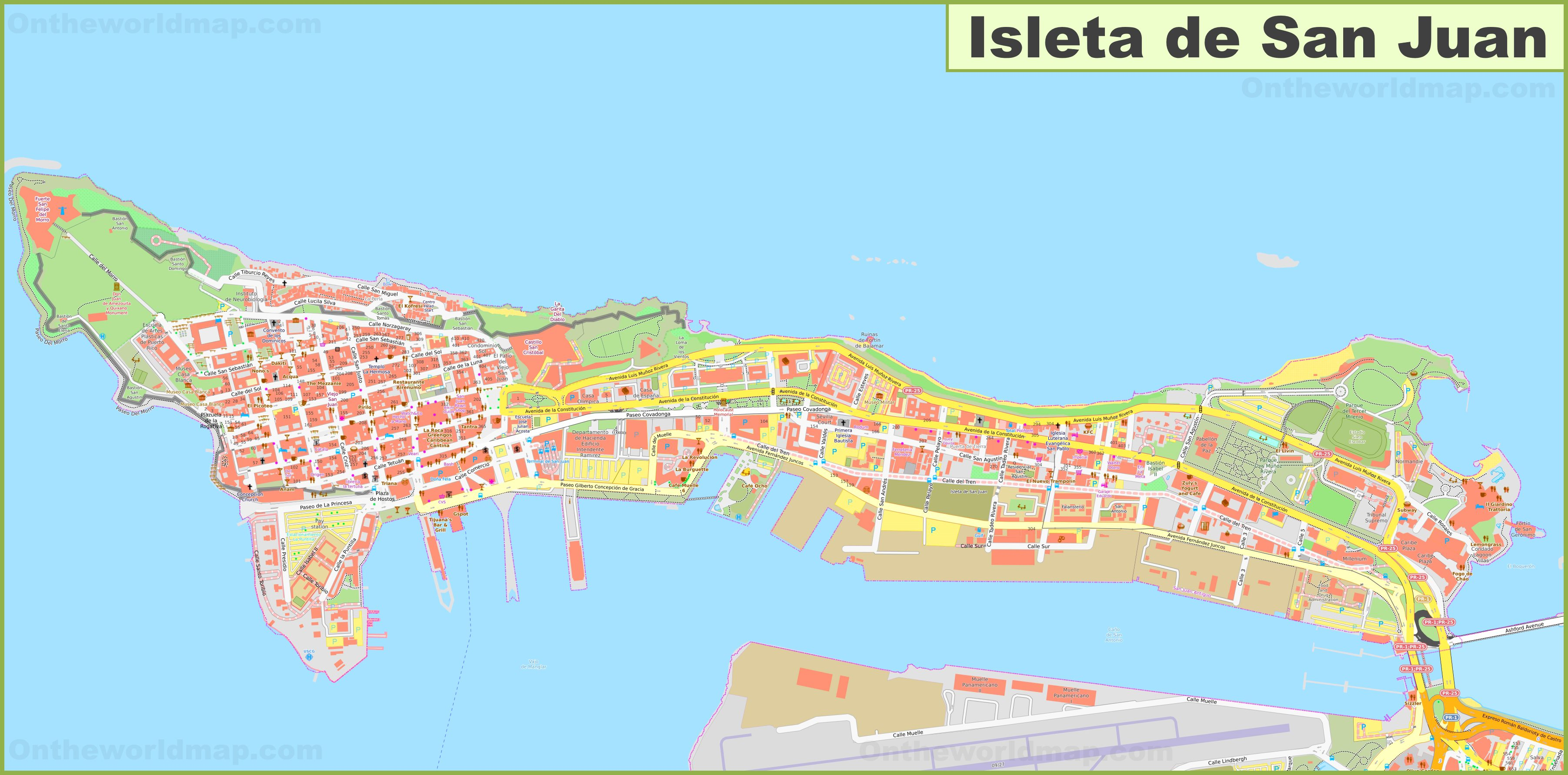 Detailed map of Isleta de San Juan