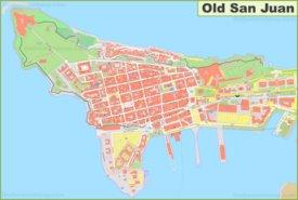 Detailed map of Old San Juan
