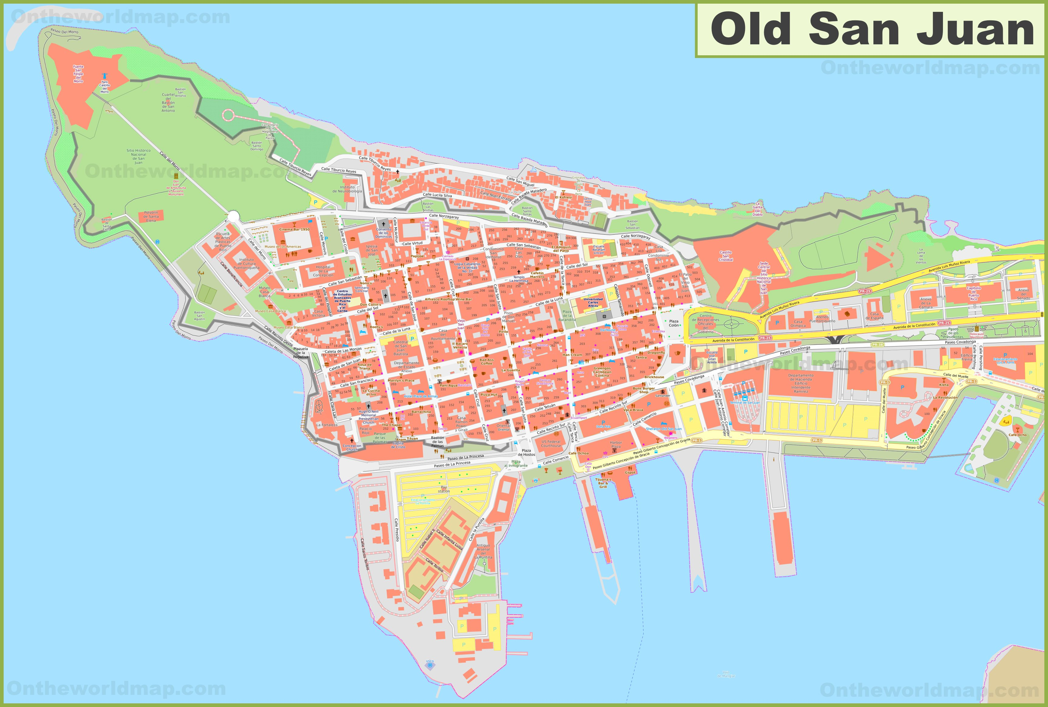 Detailed map of Old San Juan
