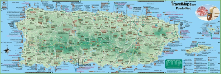 Large detailed tourist map of Puerto Rico with cities and towns