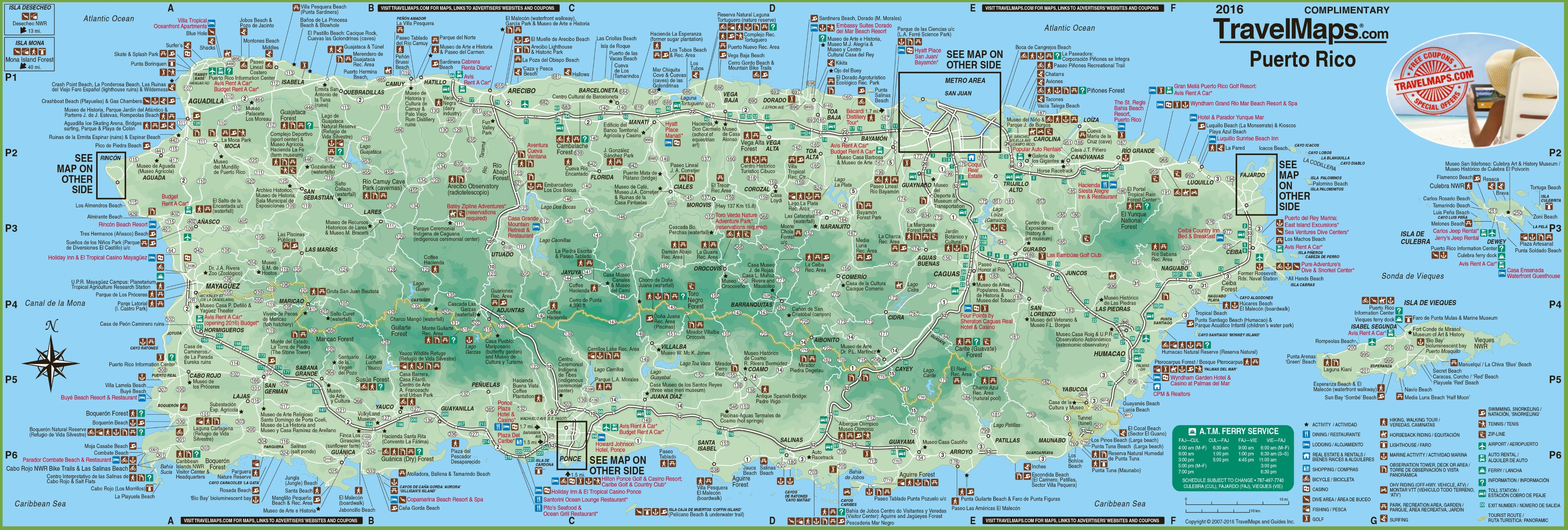Large Detailed Tourist Map Of Puerto Rico With Cities And Towns - Puerto rico maps