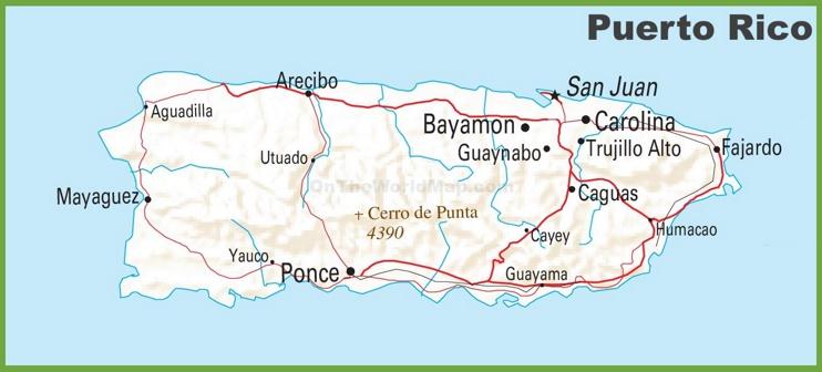 Puerto Rico highway map