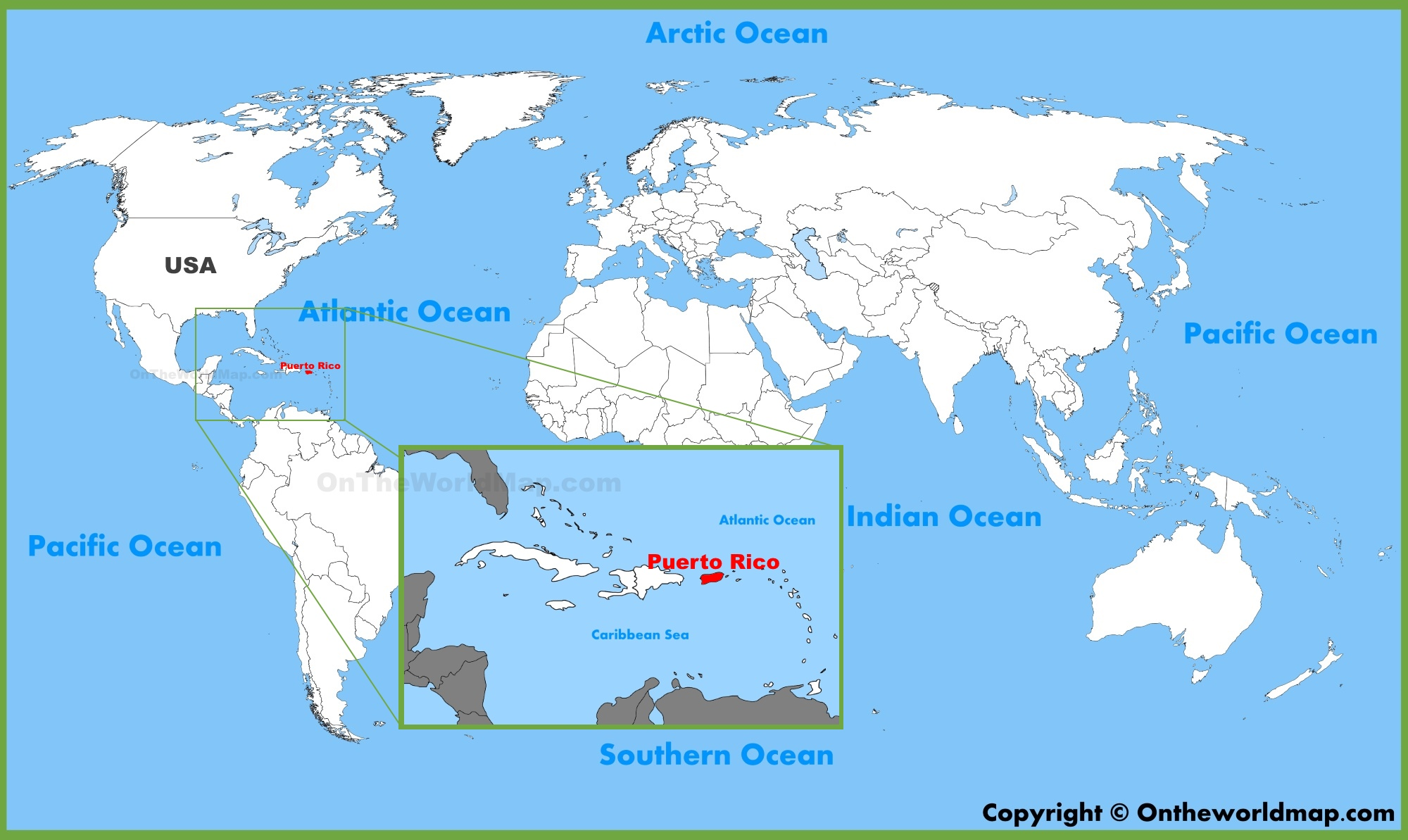 Where Is Puerto Rico On A Map Puerto Rico location on the World Map