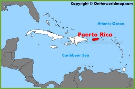 Puerto Rico location on the Caribbean map