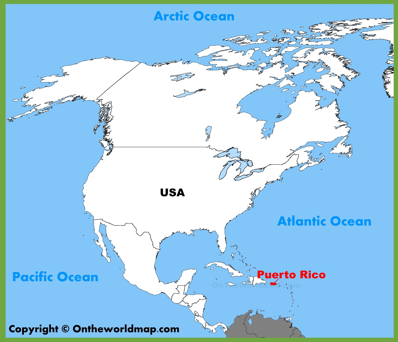 Puerto Rico location on the North America map