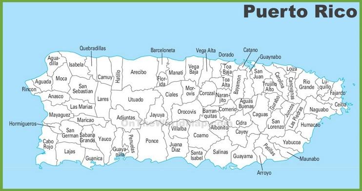 Puerto Rico municipalities map
